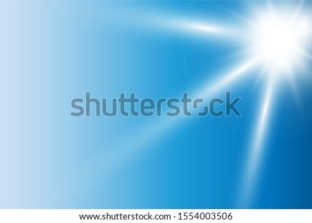 vector realistic bright flare of sun flare on blue sky #1554003506