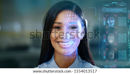 Futuristic and technological scanning of the face of a beautiful woman for facial recognition and scanning to ensure personal safety.  Royalty-Free Stock Photo #1554013517