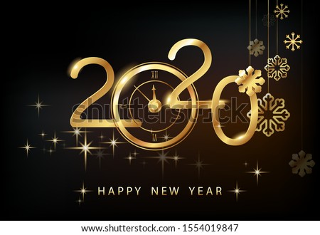Happy New Year 2020 - New Year, shining background with gold watches and glitter.Creative. Black background. Smartphone laptop, stars.Futuristic snowflakes design. Banner, poster, numbers, cover, text #1554019847
