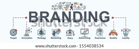 Branding banner web icon for business and digital marketing, Target, social media, story telling, awareness, customer service, quality and brand brand loyalty. Flat cartoon vector infographic. Royalty-Free Stock Photo #1554038534