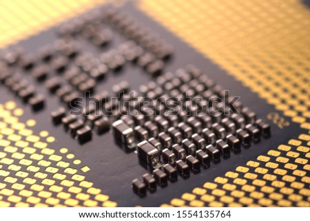 Contacts on the surface of the central processor. Elements of electronic technology. #1554135764