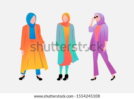 three modern young Muslim women wearing trendy clothes and hijab. Set of fashionable Arab girls. Collection of female characters isolated. Flat cartoon vector illustration with gradient color