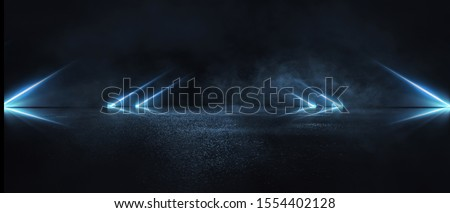 Empty background scene. Dark street reflection on the wet pavement. Rays neon light in the dark, neon figures, smoke. Night view of the street, the city. Abstract dark background. Abstract spotlight.  #1554402128