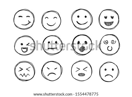 Hand drawn emojis faces. Doddle emoticons sketch, thin line icons of happy sad face, vector illustration Royalty-Free Stock Photo #1554478775