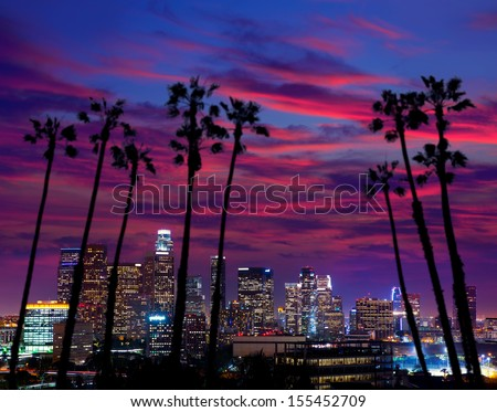 Downtown LA night Los Angeles sunset colorful skyline California [photo illustration]
