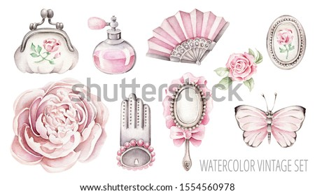 Hand drawn watercolor vintage set: fan, purse, mirror, glove, perfume, locket, butterfly, peony, rose.Pink accent.Retro objects