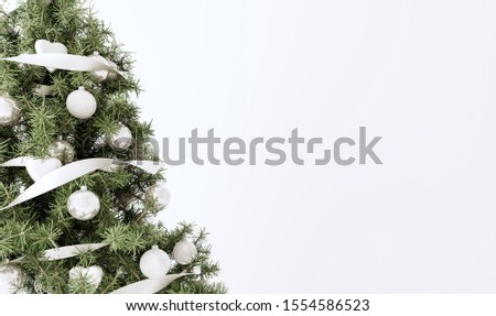 Decorated Christmas tree on white background 3D  #1554586523
