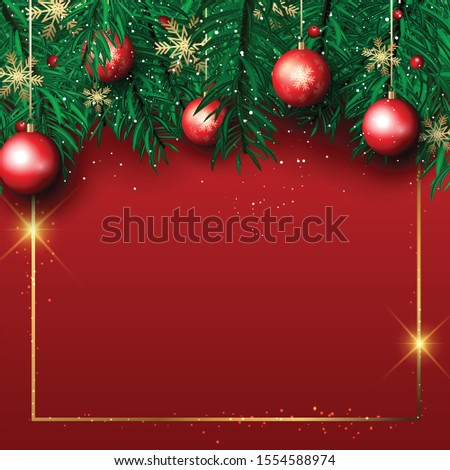 Christmas background with pine tree branches and hanging baubles with gold frame #1554588974