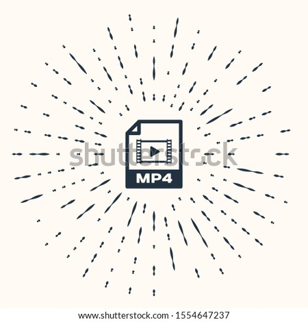 Grey MP4 file document. Download mp4 button icon isolated on beige background. MP4 file symbol. Abstract circle random dots. Vector Illustration