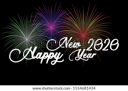 Happy new year 2020 text with firework gradient colorful, illustration, poster, banner #1554681434