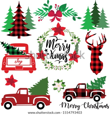 Buffalo Plaid Truck Vector Merry Christmas cutting file Vintage Christmas truck and tree Truck with Tree illustration Clipart Buffalo Tree Stock File Buffalo deer Christmas Flower  #1554793403