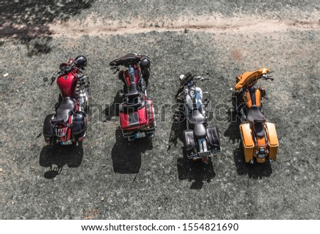 Bikes Shot from drone at the fest in Cesis. Motorcycles view from top Royalty-Free Stock Photo #1554821690