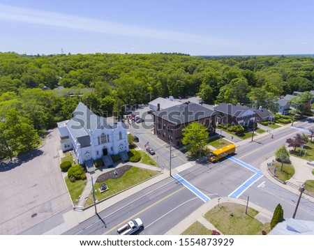 Aerial view of Medway historic town center, St. Joseph's Parish Church and Village Street in summer, Medway, Boston Metro West area, Massachusetts, USA. #1554873929