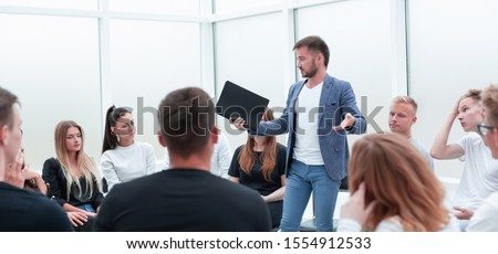 speaker asking about something, participant business training Royalty-Free Stock Photo #1554912533