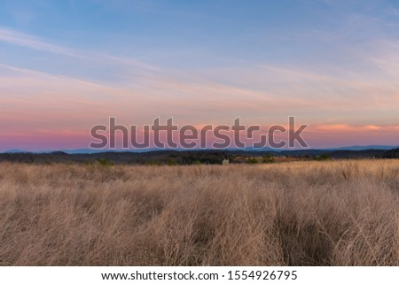 A beautiful, colorful sunset sunrise over the smokey mountains in Tennessee. Concepts of travel, vacation, and nature