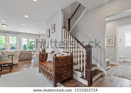Jacksonville Beach, Florida / USA - November 9 2019: Nice staircase in a luxury home #1555003724