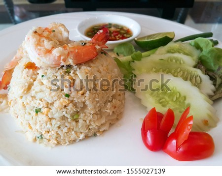 "Fried Cauliflower rice with Shrimp ketogenic menu, ""Ketogenic"" is a term for a low-carb diet. The idea is to get more calories from protein and fat and less from carbohydrates.  #1555027139"