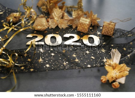 Happy New Year 2020. Symbol from number 2020 on stone background #1555111160