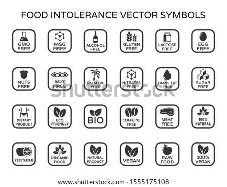 Allergen ingredients vector icons. Product free allergen ingredient symbols. No lactose, gluten, soy, sugar, gmo, trans fat. Organic, bio, vegan icons. Food intolerance stock vector illustration