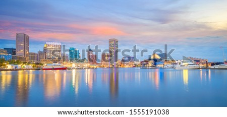 View of Inner Harbor area in downtown Baltimore Maryland USA at sunset #1555191038