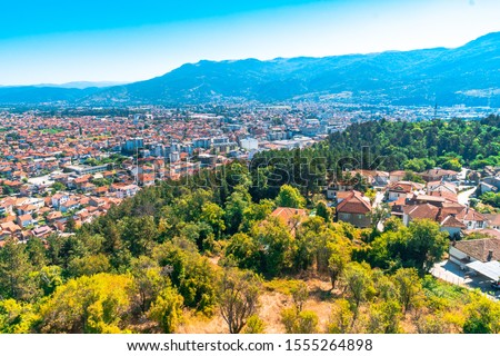 Panoramic view of Ohrid in Republic of Macedonia with mountains by lake. #1555264898