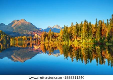 Sunrise view in High Tatras mountains national park and Strbske pleso  (Strbske lake) beautiful mountain lake in Slovakia #1555311260