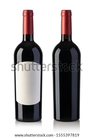 Wine bottle With blank label, isolated on white Background #1555397819