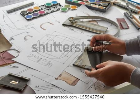 Designer stylish sketch Drawn design template pattern made leather clutch bag handbag purse Woman female Fashionable Fashion Luxury Elegant accessory.                                #1555427540