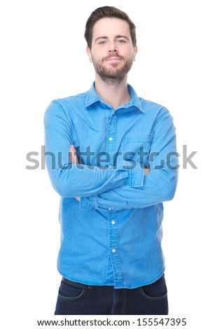 Portrait of a young male standing with arms crossed on isolated white background #155547395