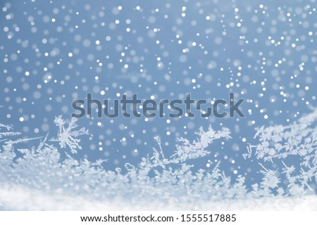 Falling snow and snowflakes on sky blue background.Winter,Christmas and Happy new year season concept. #1555517885