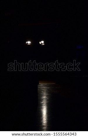 Spotlights on dark podium. Catwalk stage spotlights #1555564343