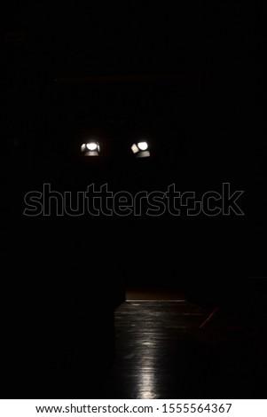 Spotlights on dark podium. Catwalk stage spotlights #1555564367