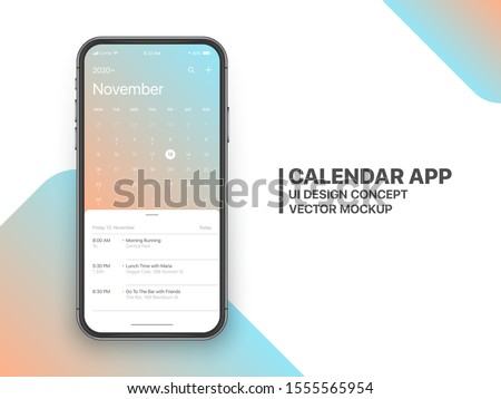 Calendar App Concept November 2020 Page with To Do List and Tasks UI UX Design Mockup Vector on Frameless Smartphone Screen Isolated on White Background. Planner Application Template for Mobile Phone