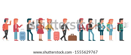 group of young travel people standing in queue with luggage, men and women on journey trip, passengers, tourists cartoon character flat vector illustration. #1555629767
