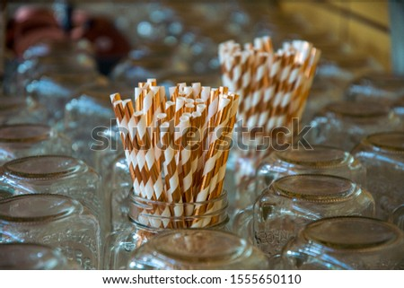 gold white drinking straws in drinking glasses for self service #1555650110