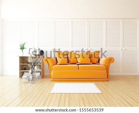 White living room interior with furniture. dresser on a wooden floor, decor on a large wall, white landscape in window. Home nordic interior. 3D illustration #1555653539