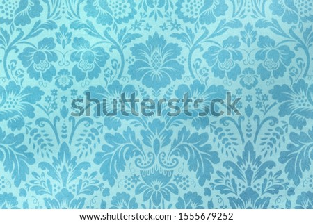 Floral decorative turquoise pattern on turquoise background as ilustration/background/texture #1555679252