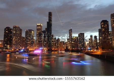 A beautiful picture of a Chicago sunset.