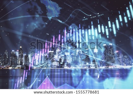 Financial graph on night city scape with tall buildings background multi exposure. Analysis concept. #1555778681