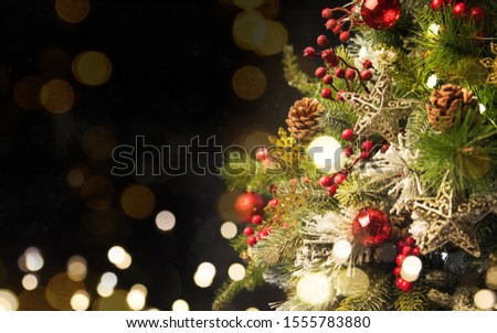 2020 Merry Christmas and New Year holidays background. Blurred bokeh background #1555783880