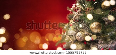 2020 Merry Christmas and New Year holidays background. Blurred bokeh background #1555783958