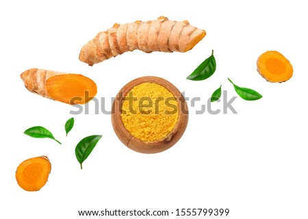 Turmeric powder and turmeric root isolated on white background with copy space for your text. Top view. Flat lay #1555799399