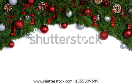 Christmas New year decoration frame isolated on white  #1555809689