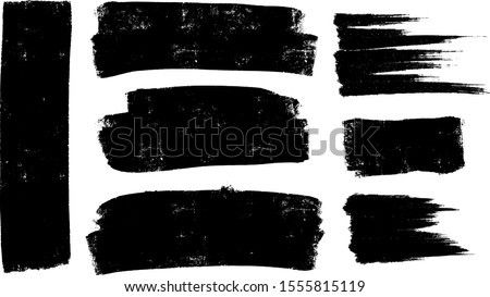 Vector paintbrush set, brush strokes templates. Grunge design elements for social media. Rectangle text boxes or speech bubbles. Dirty distress texture banners for social networks story and posts. #1555815119