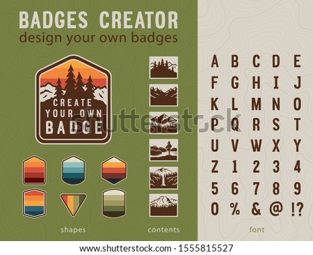 Hiking Badge Creator. Vintage patches elements and stylized font. Design your own badges.   Royalty-Free Stock Photo #1555815527