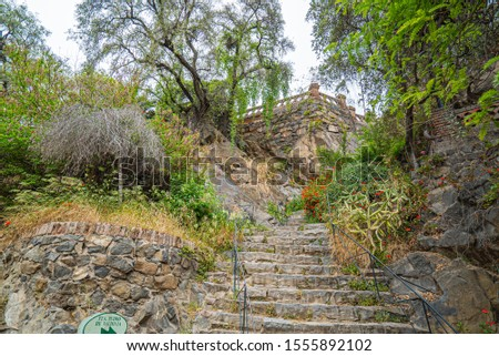 old stone stairs in Santa Lucia Hill, Santiago Chile #1555892102