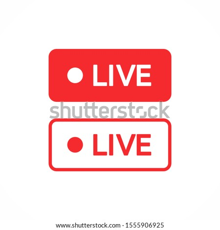 Red live buttons on a white background. Live symbol, badge, sign, label, sticker template. Social media concept. Vector illustration. EPS 10 #1555906925