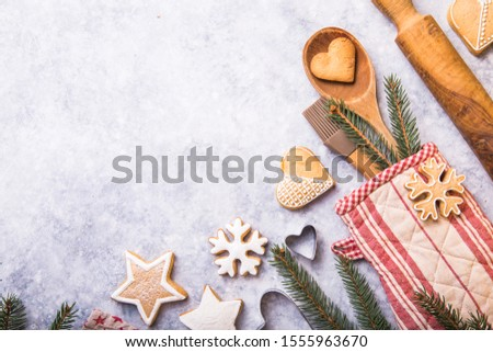Christmas winter baking concept, ingredients for making cookies, baking, pies. top view #1555963670