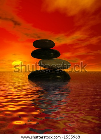 Balanced rocks in the ocean at sunset #1555968