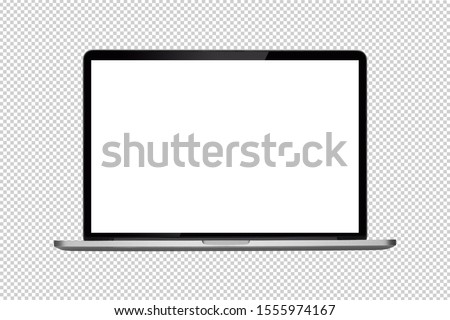 Laptop or notebook  with blank screen isolated with clipping path on transparent background